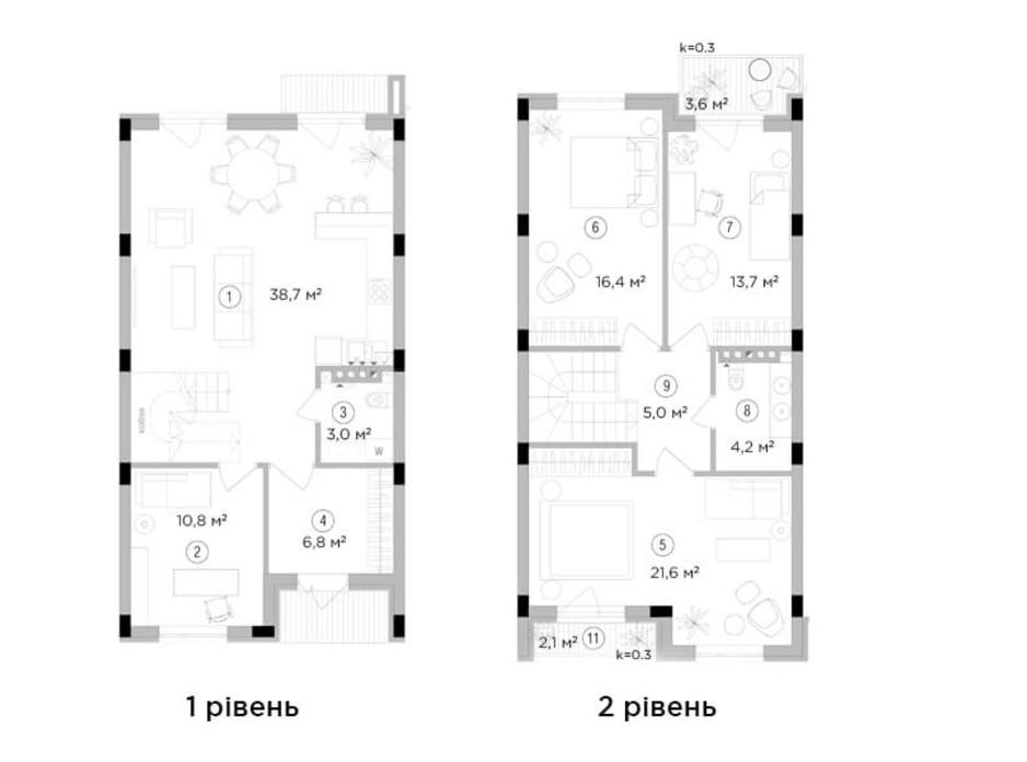 Планировка 3-комнатной квартиры в Таунхаус Eastville 121.9 м², фото 244014