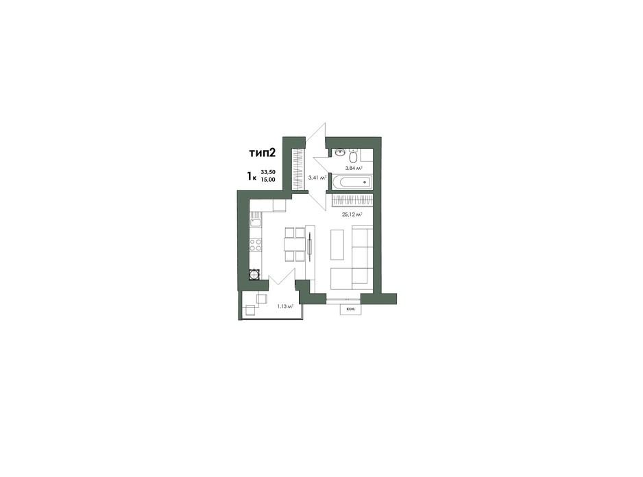 Планування 1-кімнатної квартири в ЖК Art Misto 33.45 м², фото 244143