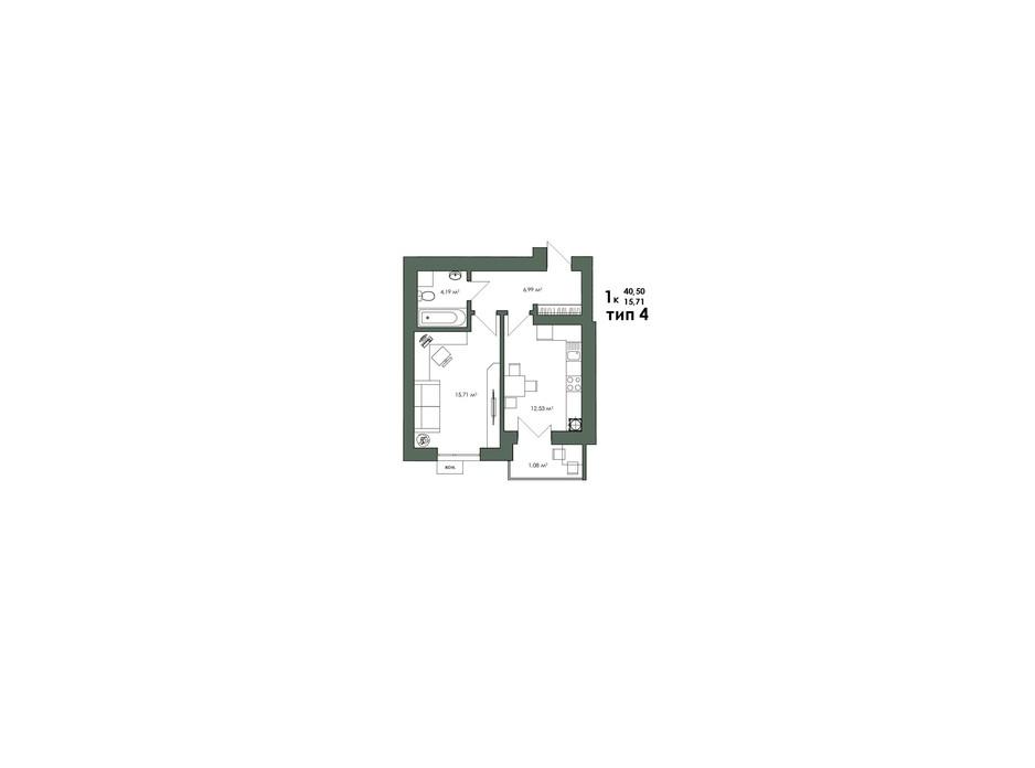 Планування 1-кімнатної квартири в ЖК Art Misto 40.69 м², фото 244147
