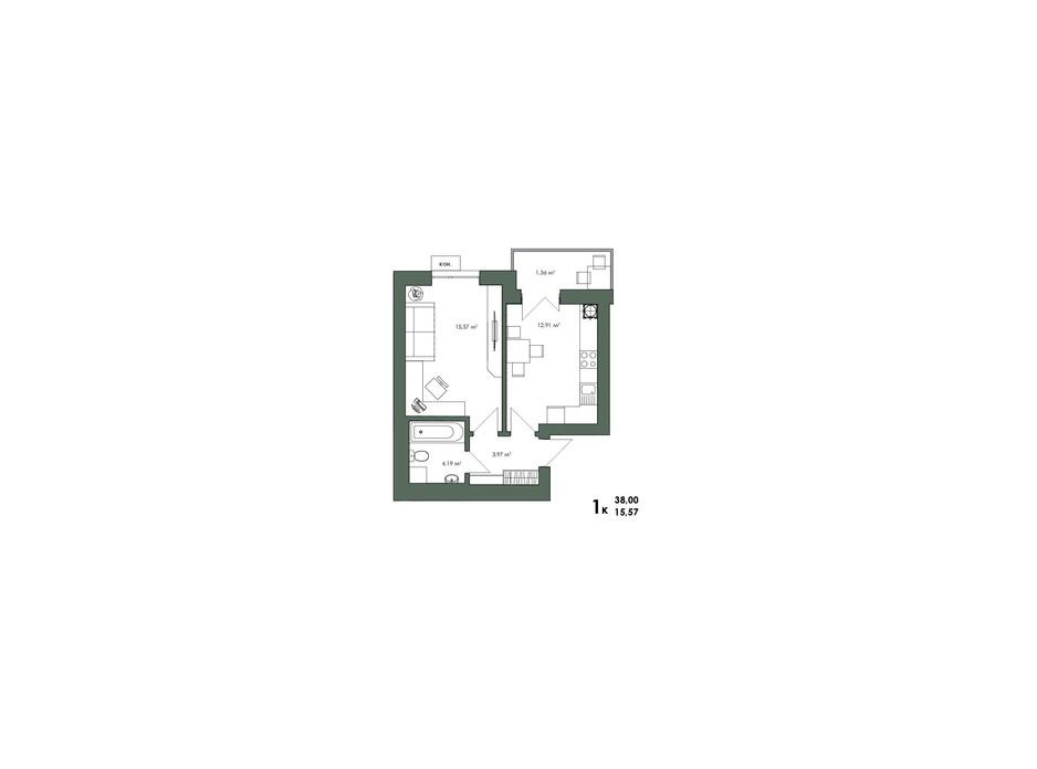 Планування 1-кімнатної квартири в ЖК Art Misto 37.97 м², фото 244152
