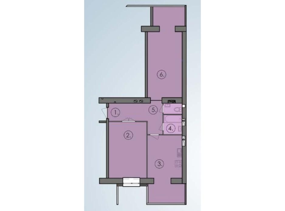 Планировка 2-комнатной квартиры в ЖК Петровский квартал 77.86 м², фото 244438