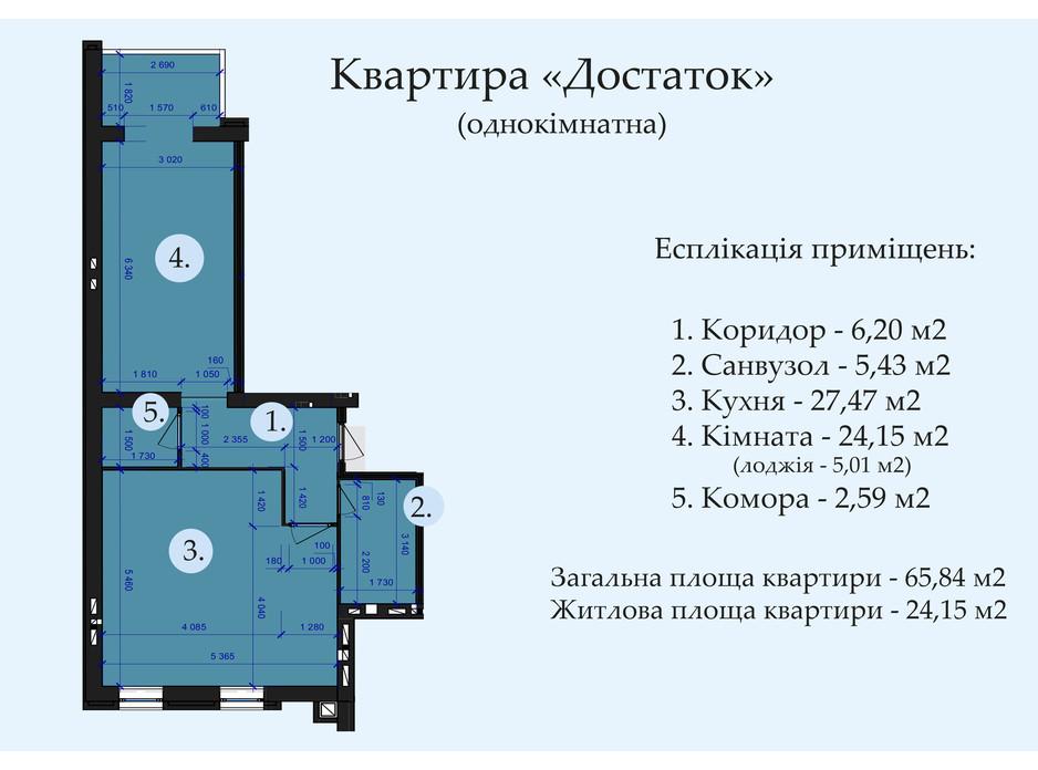 Планировка 1-комнатной квартиры в ЖК Петровский квартал 65.84 м², фото 244439