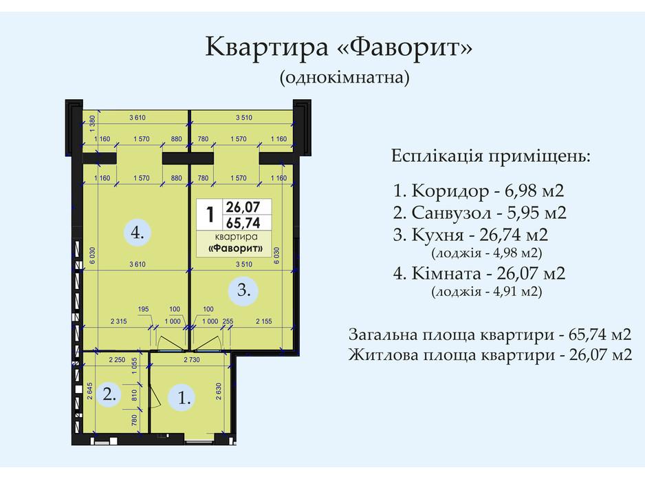 Планировка 1-комнатной квартиры в ЖК Петровский квартал 65.74 м², фото 244440