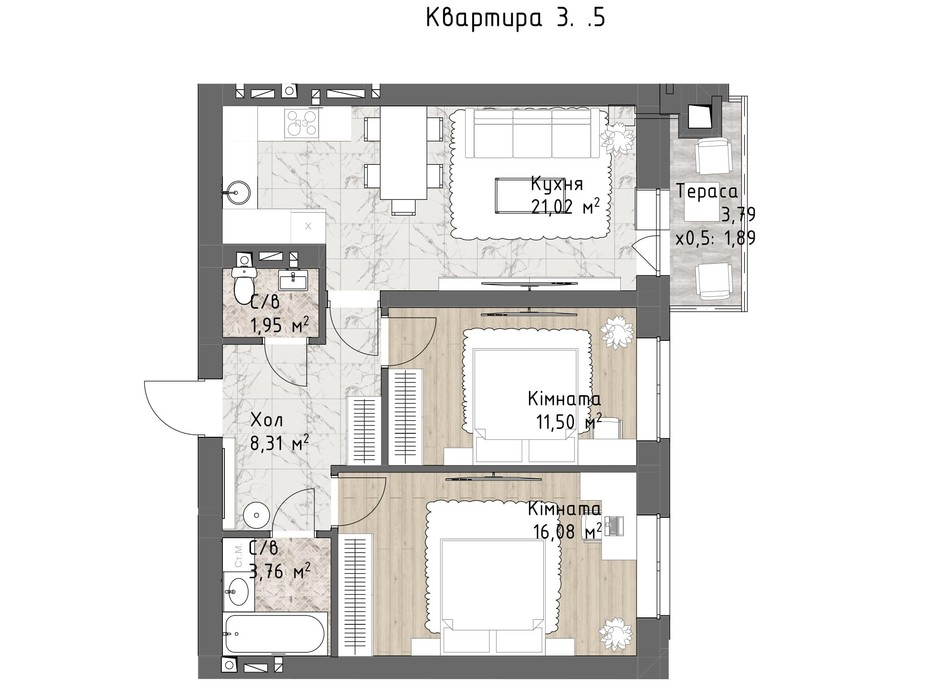 Планування 2-кімнатної квартири в ЖК Чайка Люкс 64.15 м², фото 244720