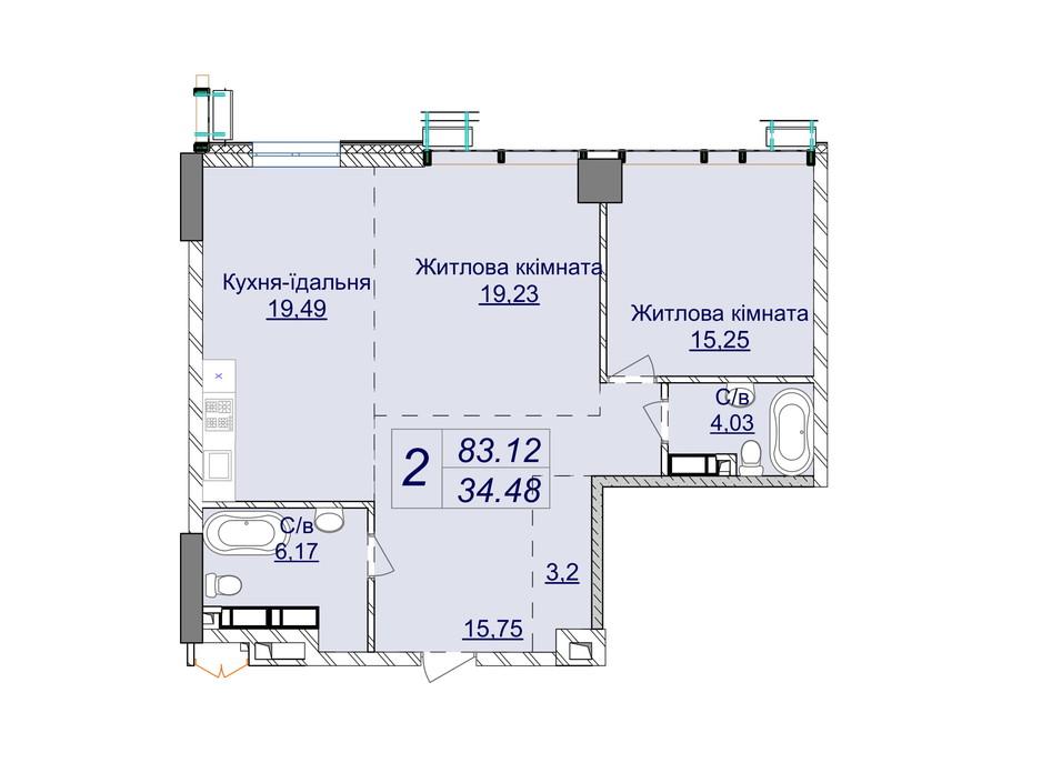 Планировка 2-комнатной квартиры в ЖК Новопечерские Липки 83.12 м², фото 244746