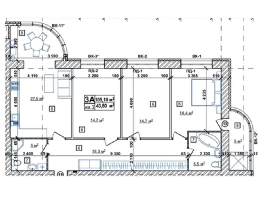 Планування 3-кімнатної квартири в ЖК Парковий 106.3 м², фото 244807