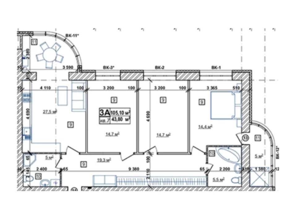 Планування 3-кімнатної квартири в ЖК Парковий 110.8 м², фото 244811