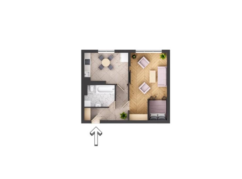 Планировка 1-комнатной квартиры в ЖК Garant City 49.77 м², фото 244890