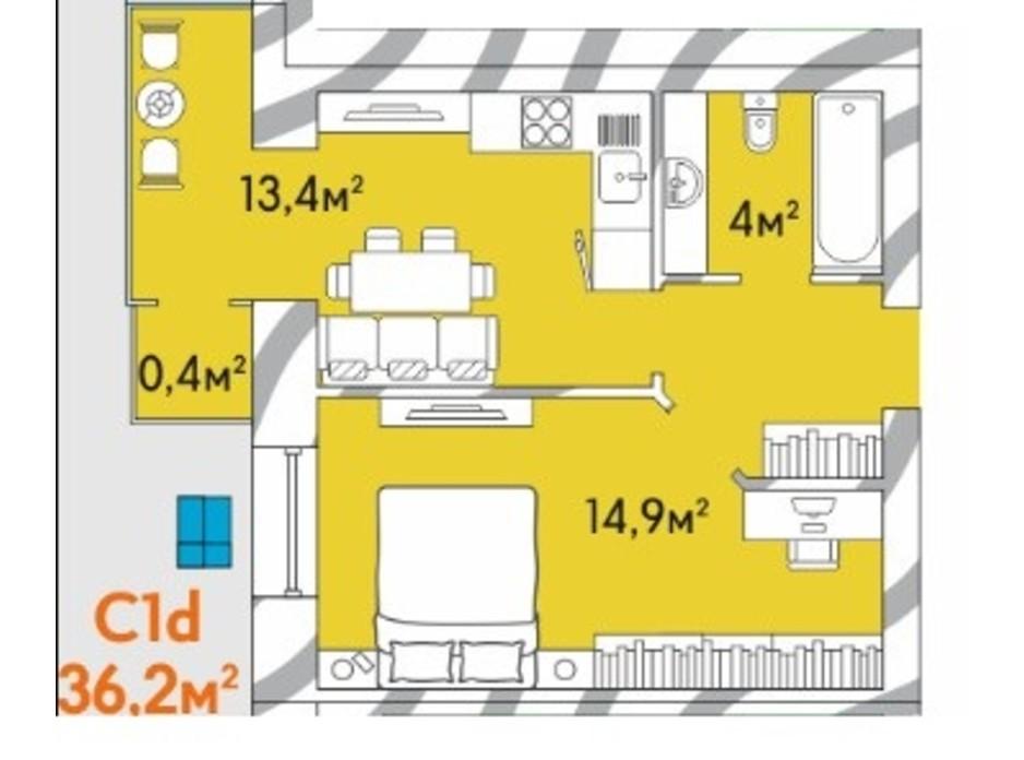 Планування 1-кімнатної квартири в ЖК Затишний Двір 36.2 м², фото 245010