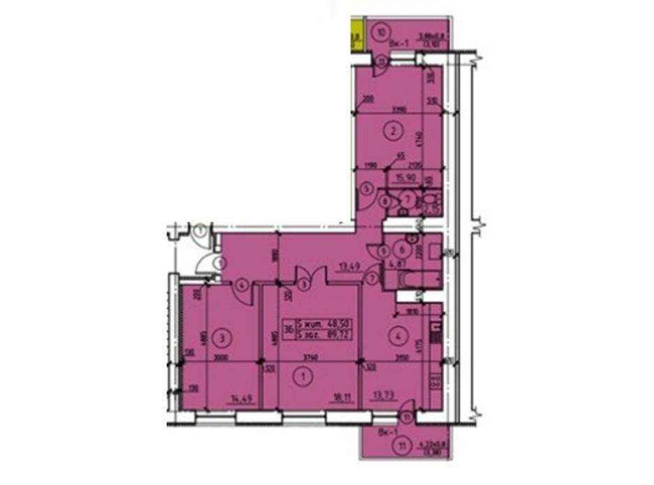 Планировка 3-комнатной квартиры в ЖК пр. М. Лушпы 93.18 м², фото 245048