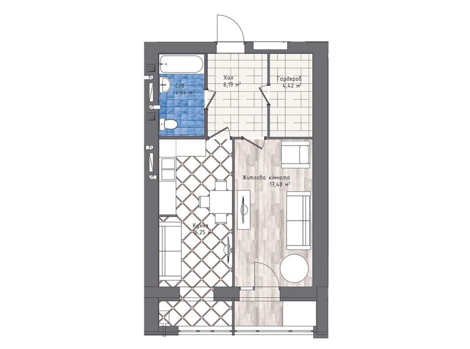Планування 1-кімнатної квартири в ЖК Статус 1 51.1 м², фото 245316