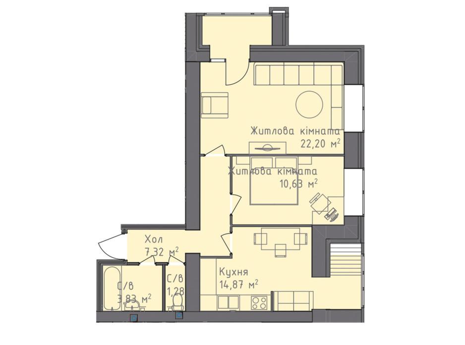 Планування 2-кімнатної квартири в ЖК Статус 1 60.24 м², фото 245318