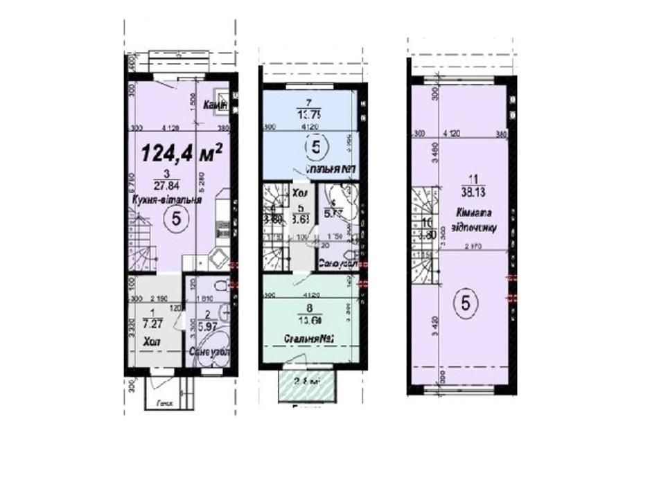 Планировка многоуровневой квартиры в Таунхаус Мануфактура 124.4 м², фото 245327