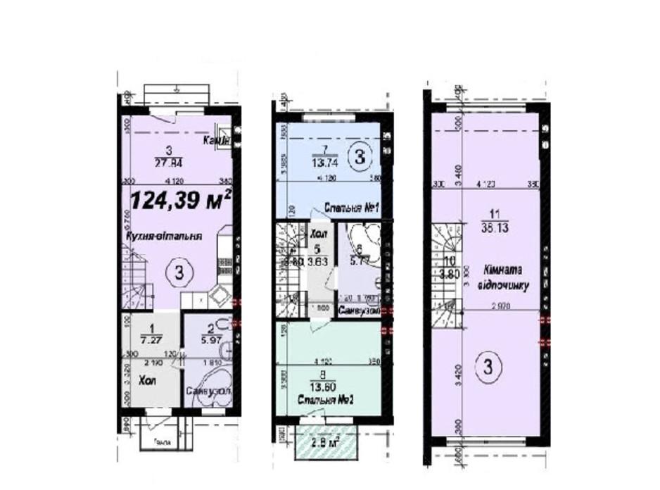 Планировка многоуровневой квартиры в Таунхаус Мануфактура 124.39 м², фото 245332