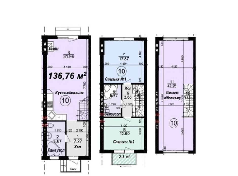 Планировка многоуровневой квартиры в Таунхаус Мануфактура 136.76 м², фото 245335