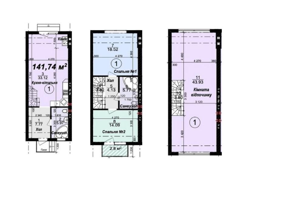 Планировка многоуровневой квартиры в Таунхаус Мануфактура 141.76 м², фото 245339