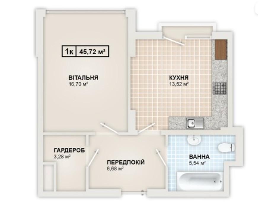 Планування 1-кімнатної квартири в ЖК HydroPark DeLuxe 45.72 м², фото 245341