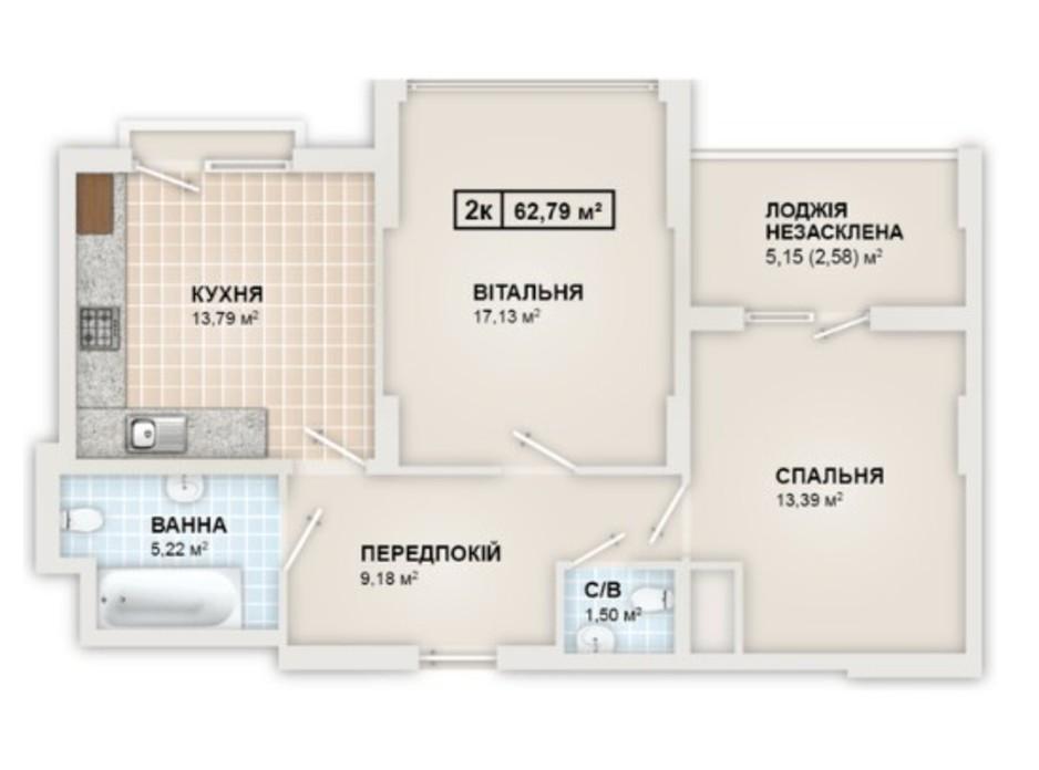 Планировка 2-комнатной квартиры в ЖК HydroPark DeLuxe 62.79 м², фото 245343