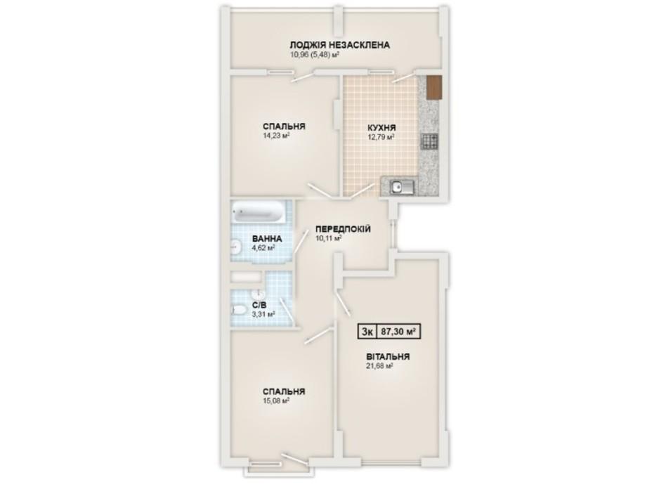 Планировка 3-комнатной квартиры в ЖК HydroPark DeLuxe 87.3 м², фото 245344
