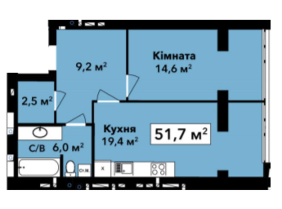Планировка 1-комнатной квартиры в ЖК Перлина Проскурова 51.7 м², фото 245348
