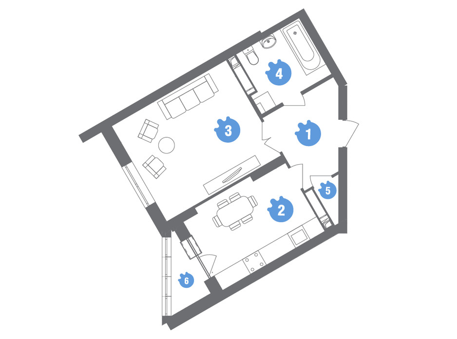 Планування 1-кімнатної квартири в ЖК Family & Friends 46.56 м², фото 245591