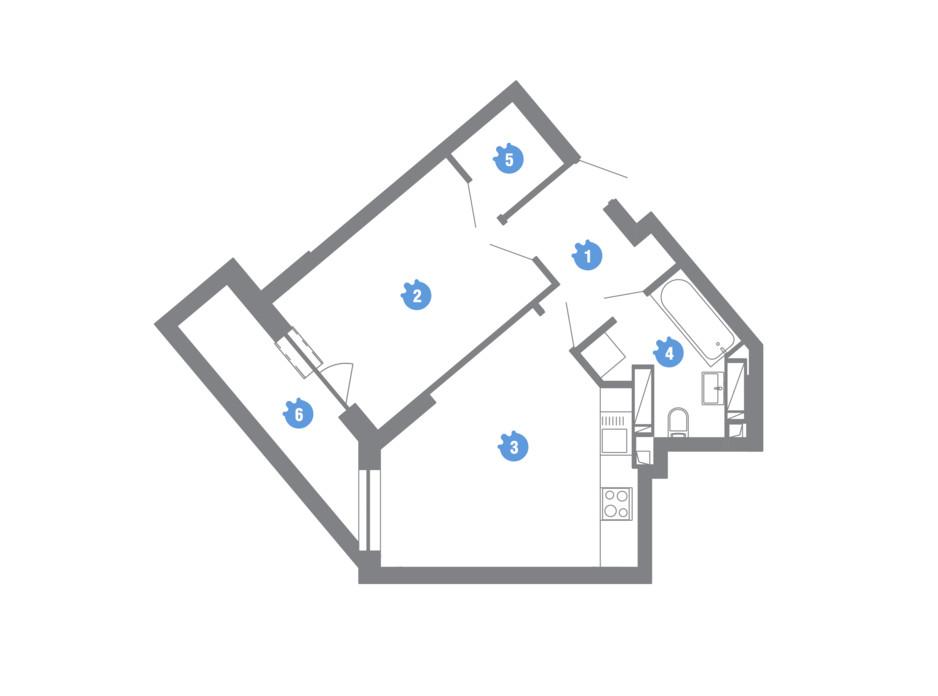 Планування 1-кімнатної квартири в ЖК Family & Friends 43.55 м², фото 245594