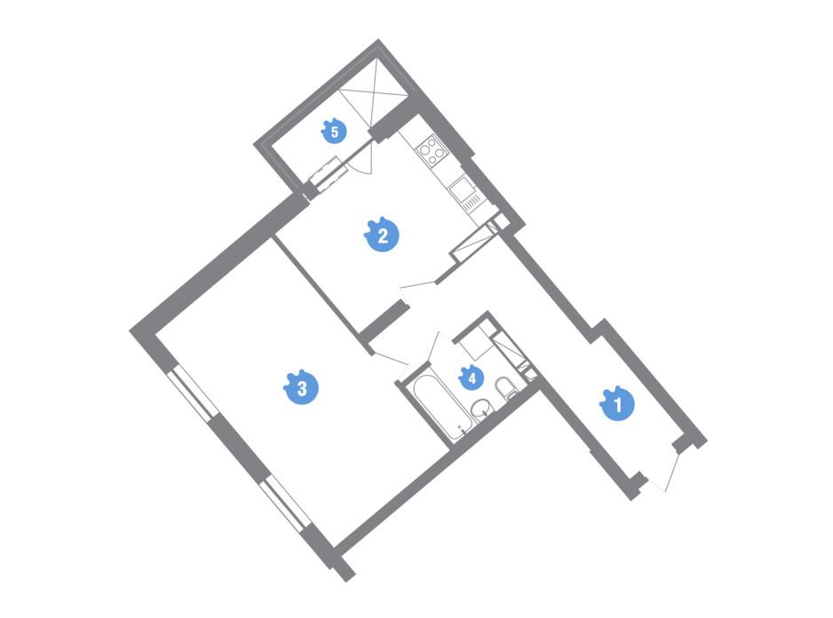 Планування 1-кімнатної квартири в ЖК Family & Friends 55.07 м², фото 245595