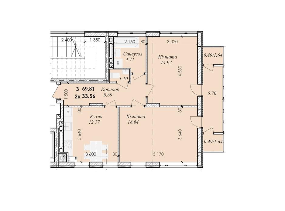Планування приміщення в ЖК Excellent House 69.81 м², фото 245675