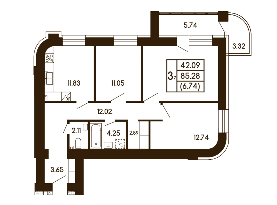 Планування 3-кімнатної квартири в ЖК Чайка 85.28 м², фото 245926
