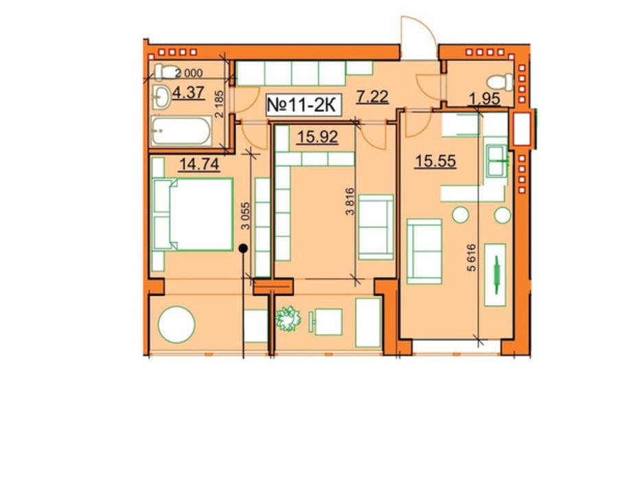 Планировка 2-комнатной квартиры в ЖК Гостомельские Липки 5 59.75 м², фото 245956