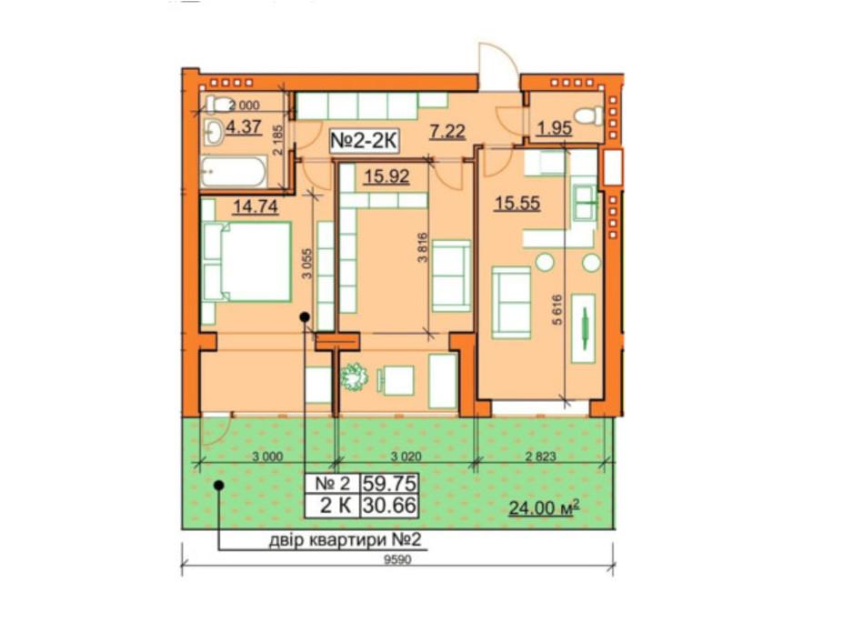 Планировка 2-комнатной квартиры в ЖК Гостомельские Липки 5 59.75 м², фото 245957