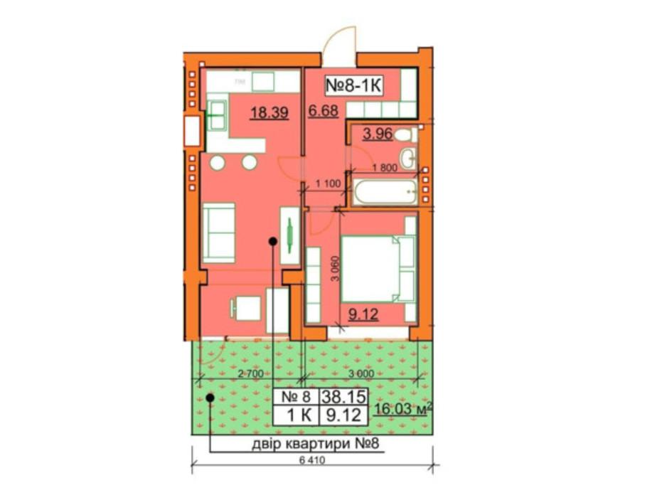 Планировка 1-комнатной квартиры в ЖК Гостомельские Липки 5 38.15 м², фото 245960