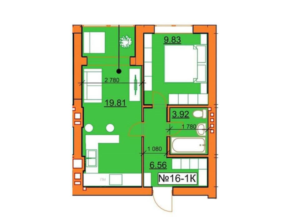 Планировка 1-комнатной квартиры в ЖК Гостомельские Липки 5 40.12 м², фото 245961
