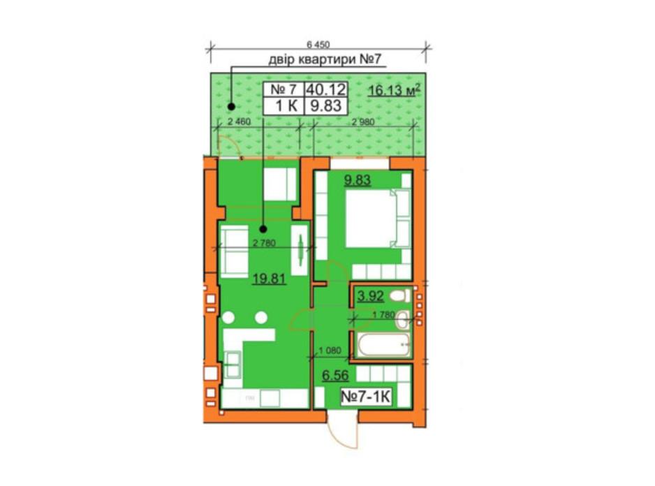 Планування 1-кімнатної квартири в ЖК Гостомельські Липки 5 40.12 м², фото 245963