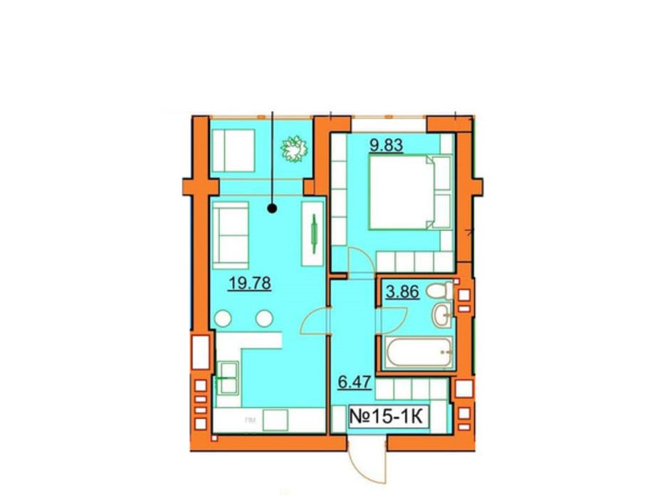 Планировка 1-комнатной квартиры в ЖК Гостомельские Липки 5 40.12 м², фото 245964
