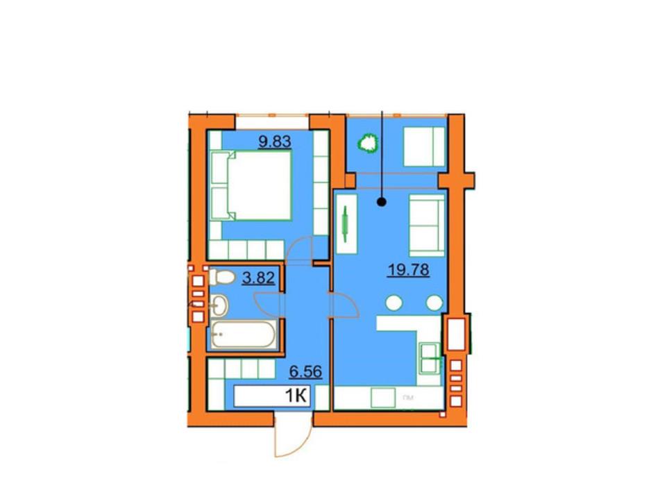Планировка 1-комнатной квартиры в ЖК Гостомельские Липки 5 39.99 м², фото 245965
