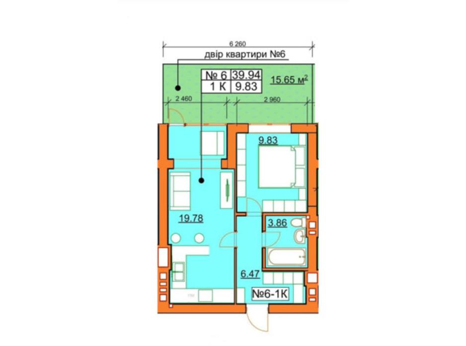 Планування 1-кімнатної квартири в ЖК Гостомельські Липки 5 39.94 м², фото 245966
