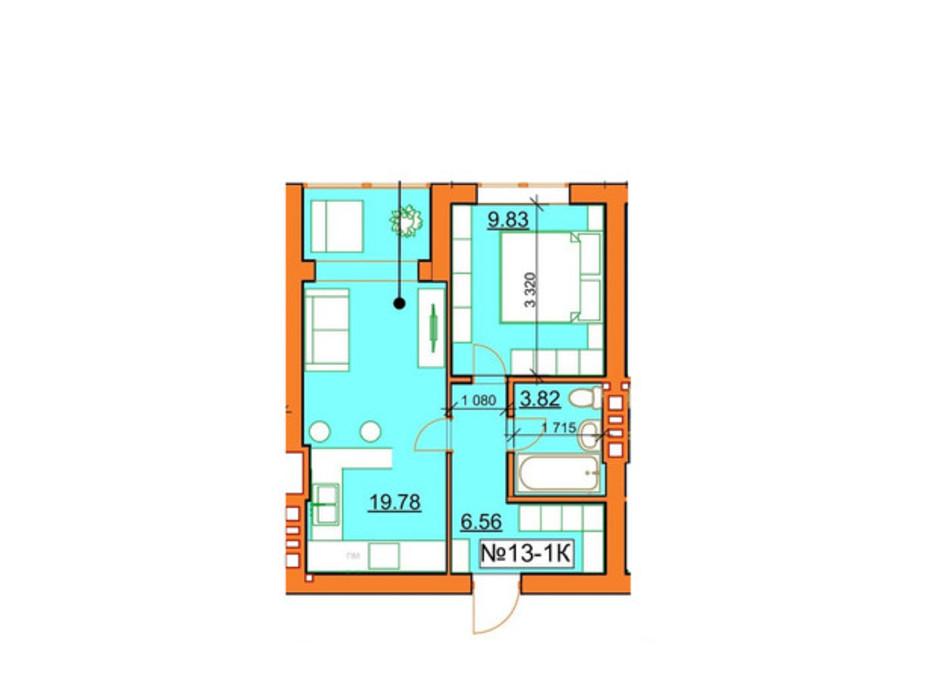 Планировка 1-комнатной квартиры в ЖК Гостомельские Липки 5 39.99 м², фото 245969