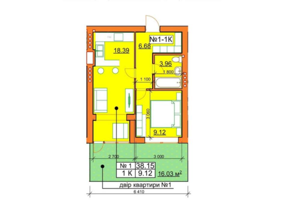 Планировка 1-комнатной квартиры в ЖК Гостомельские Липки 5 38.15 м², фото 245970