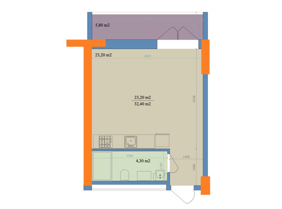 Планировка 1-комнатной квартиры в ЖК Магистр 32.4 м², фото 246423