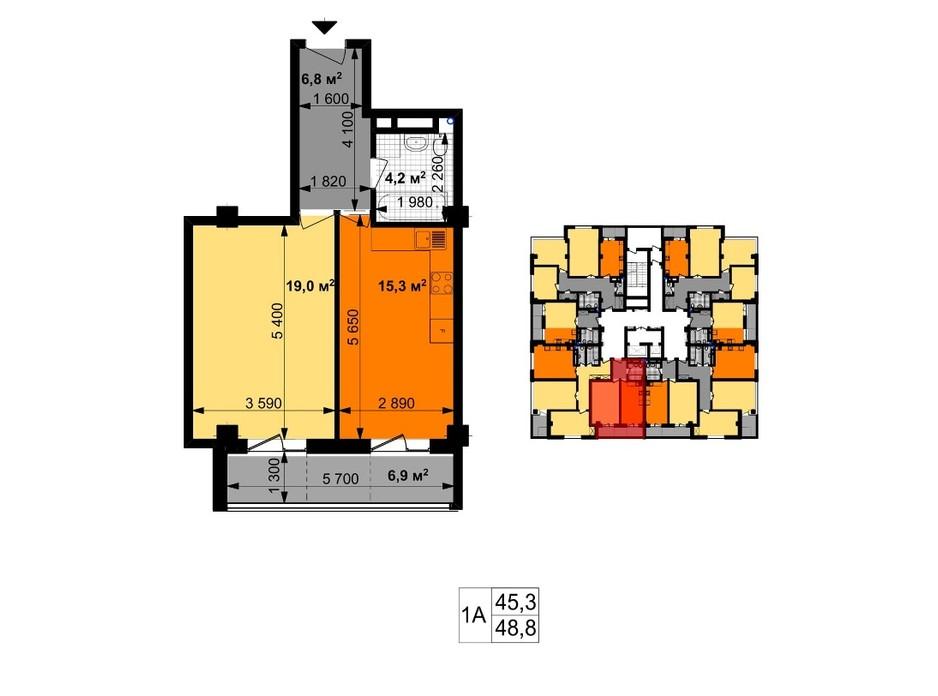 Планировка 1-комнатной квартиры в ЖК Графика 48.8 м², фото 246453