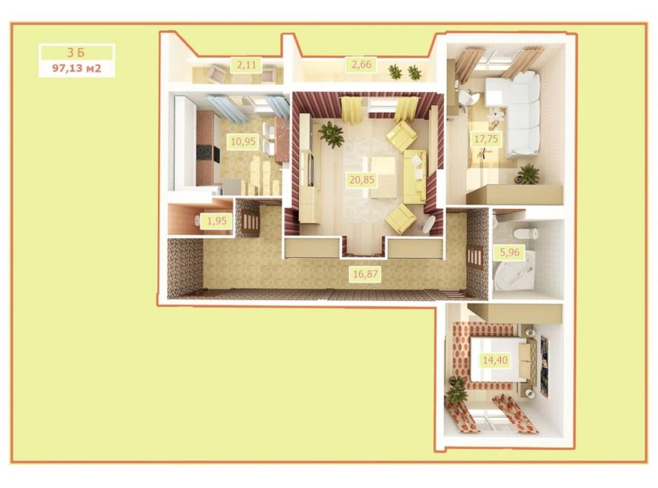 Планировка 3-комнатной квартиры в ЖК Palladium 97.7 м², фото 24675