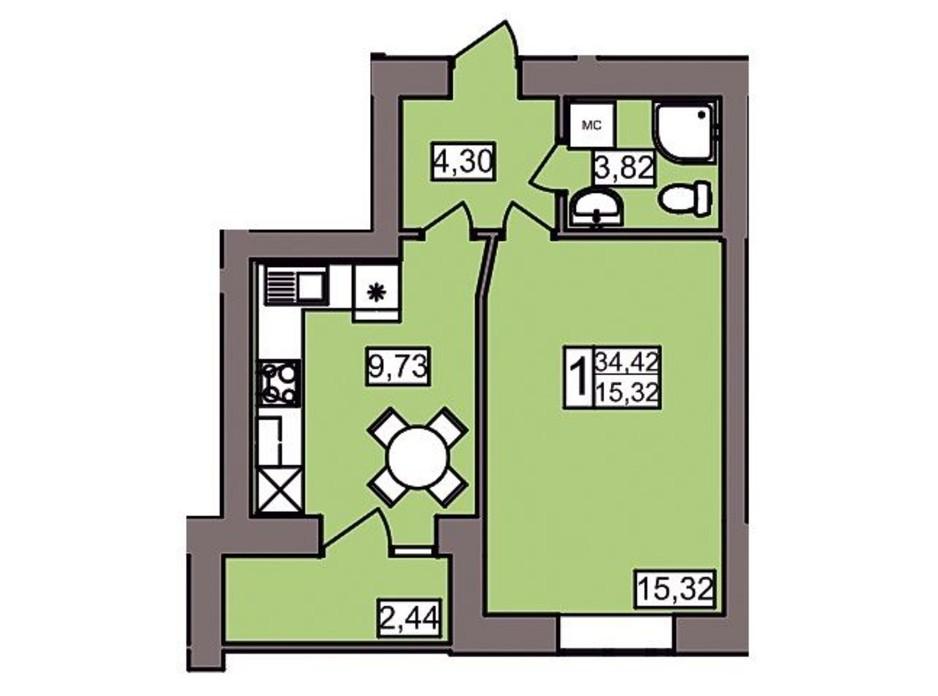 Планировка 1-комнатной квартиры в ЖК Северный 34.42 м², фото 247193