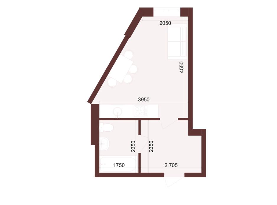 Планировка 1-комнатной квартиры в ЖК Urban One Klochkivska 24.54 м², фото 247197