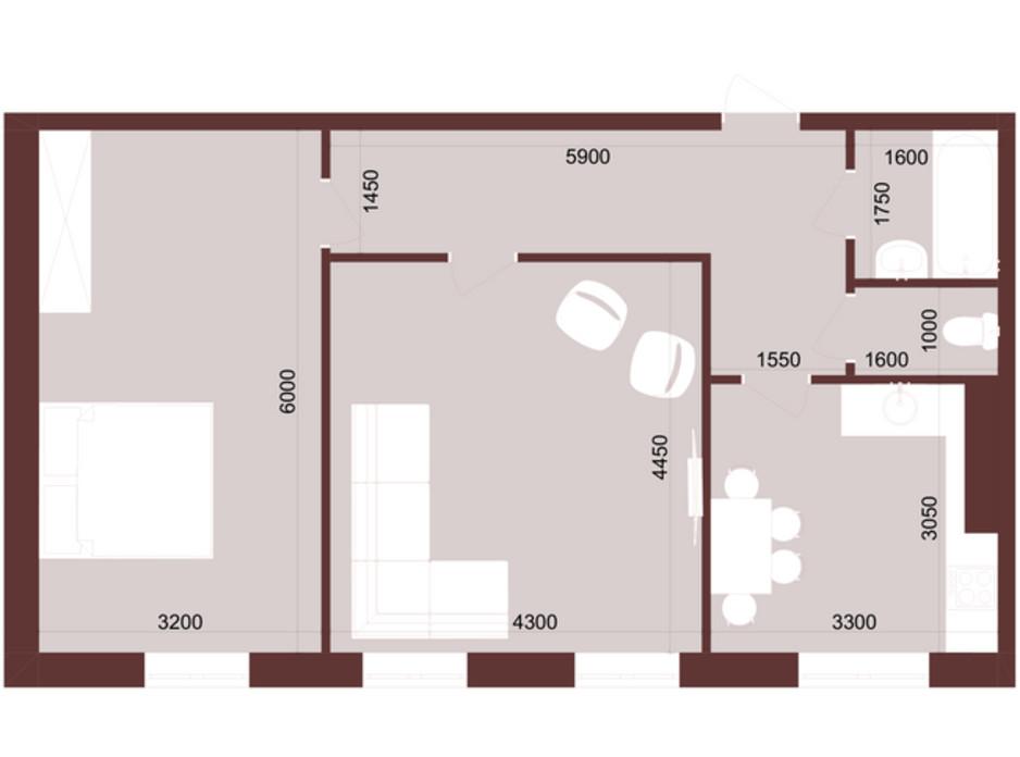 Планировка 2-комнатной квартиры в ЖК Urban One Klochkivska 62 м², фото 247207