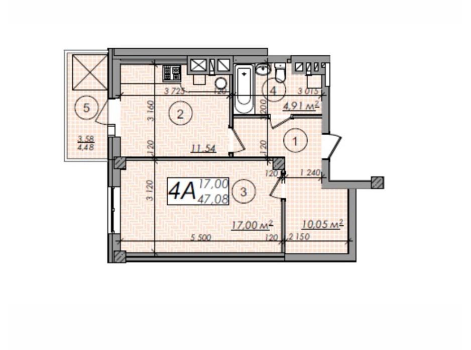 Планировка 1-комнатной квартиры в ЖК Олимп 47.08 м², фото 247285