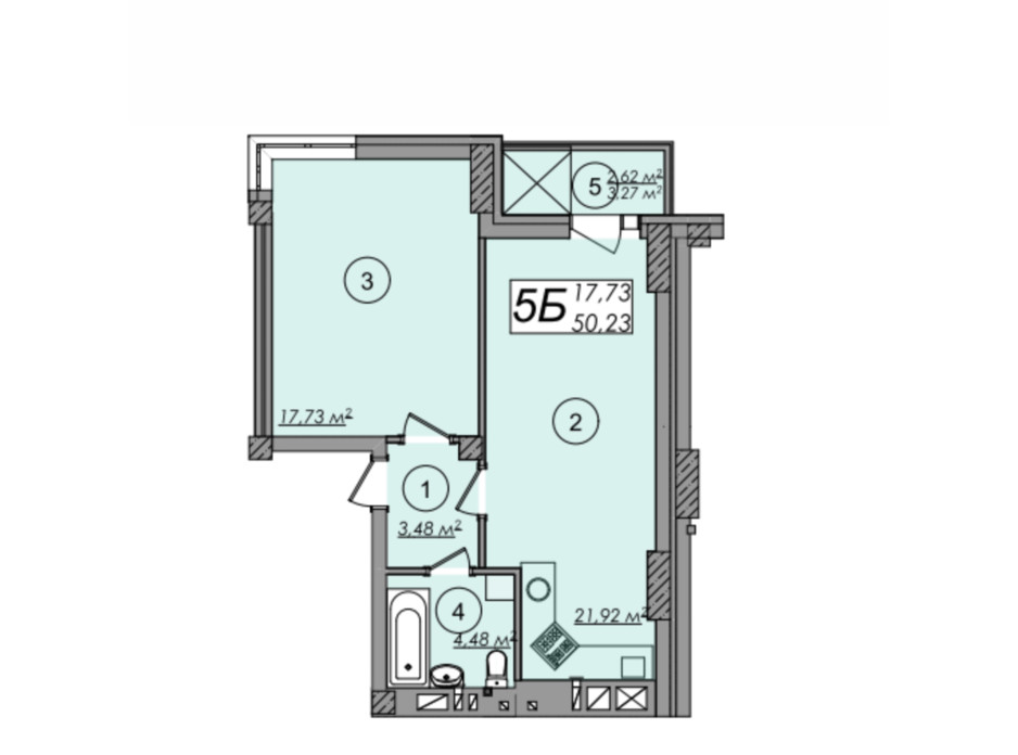 Планировка 1-комнатной квартиры в ЖК Олимп 50.23 м², фото 247288
