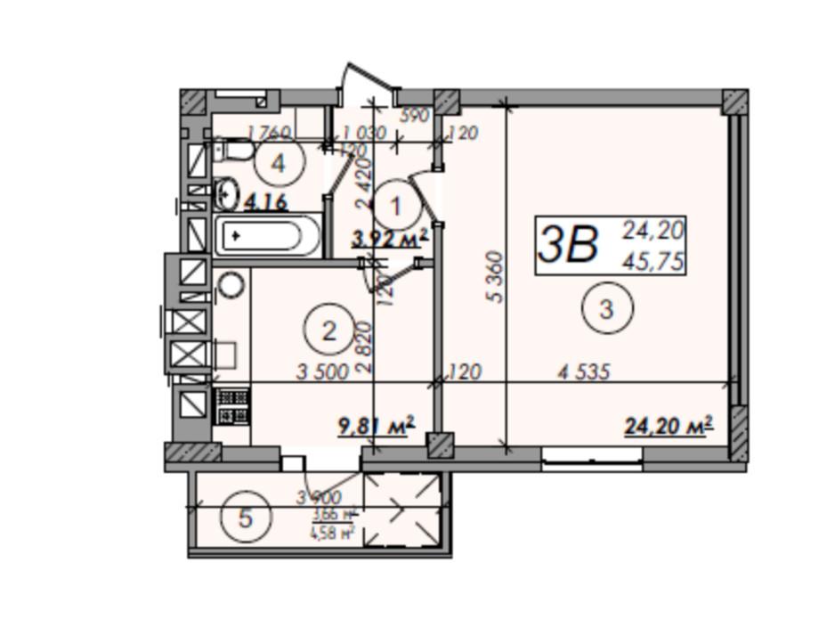 Планировка 1-комнатной квартиры в ЖК Олимп 45.75 м², фото 247290
