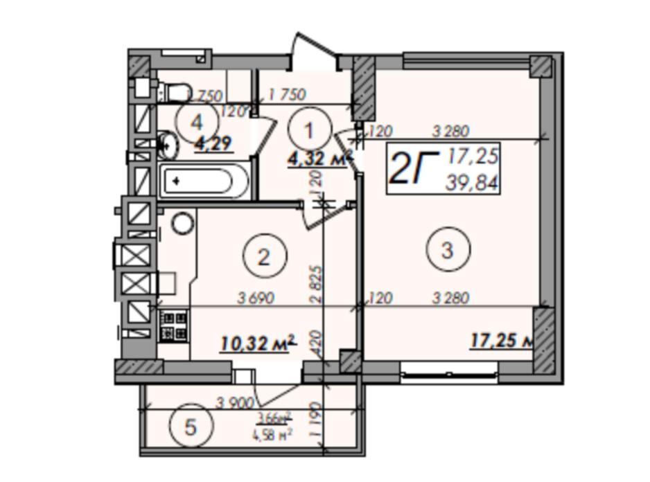 Планировка 1-комнатной квартиры в ЖК Олимп 39.84 м², фото 247292