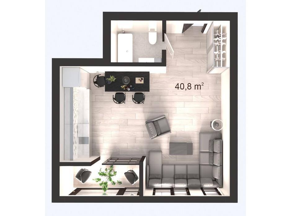 Планування 1-кімнатної квартири в ЖК Вертикаль 40.8 м², фото 247832